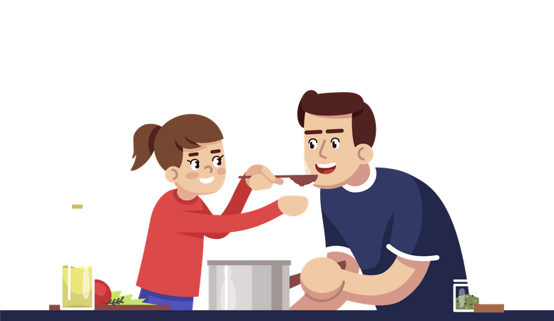 Dad And Daughter Degustating Meal Illustration