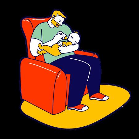 Dad feeding his son with milk bottle Illustration