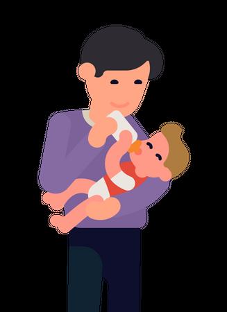 Dad Feeding Milk to baby from bottle Illustration