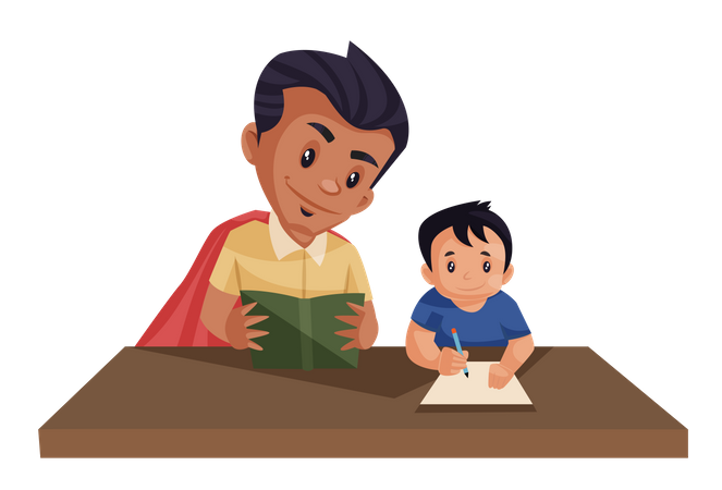 Dad is helping his kid in the homework Illustration