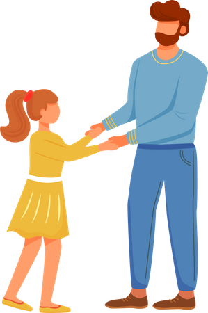 Dad with daughter Illustration