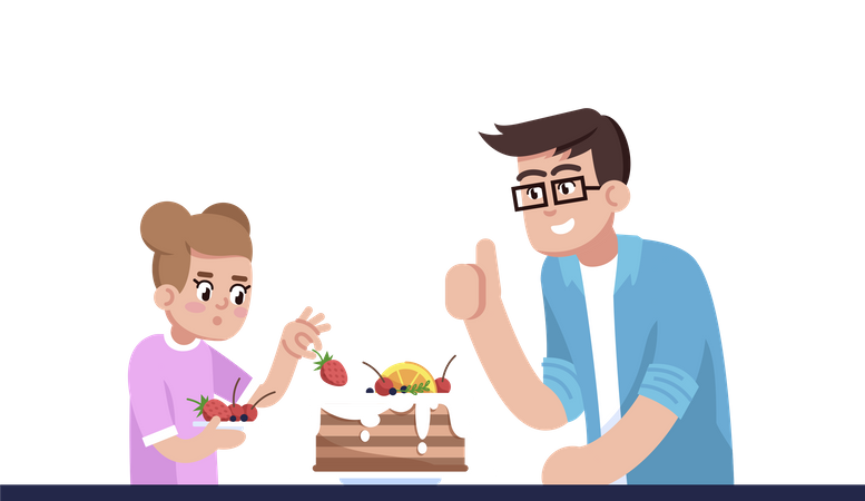 Daddy And Daughter Decorating Pie Illustration