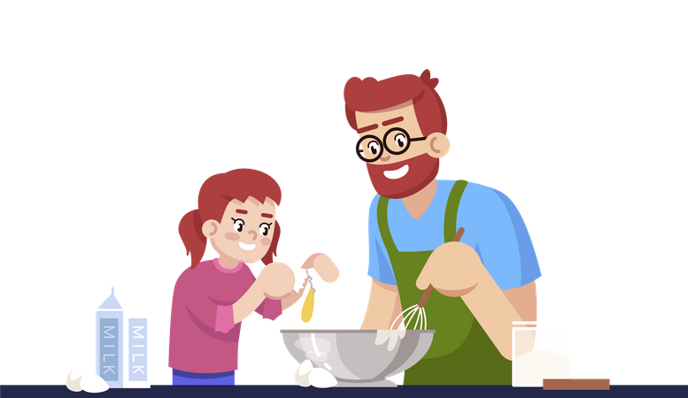 Daddy And Daughter Making Pastry Illustration