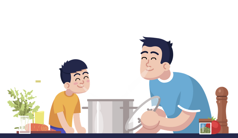 Daddy And Son Inhaling Meal Aroma Illustration