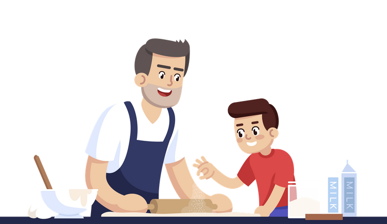 Daddy And Son Rolling Out Dough Illustration