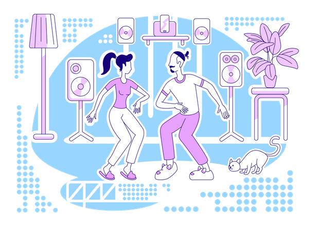 Dancing at home Illustration