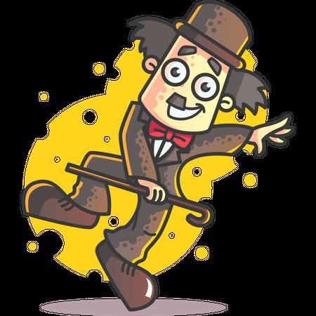 Dancing Charlie Chaplin Illustration