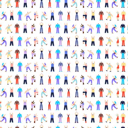 Dancing Disco People Seamless Pattern Illustration