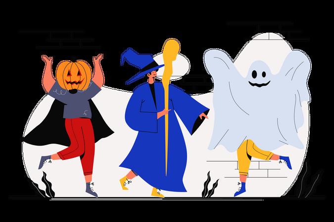 Dancing on Halloween Illustration