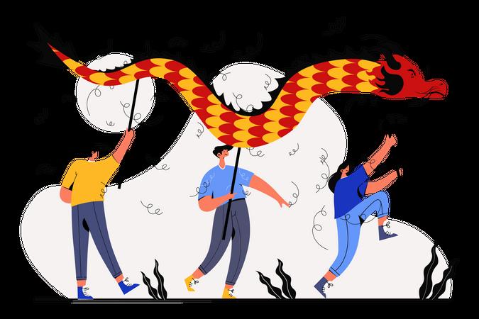 Dancing on Happy Lunar New Year Illustration