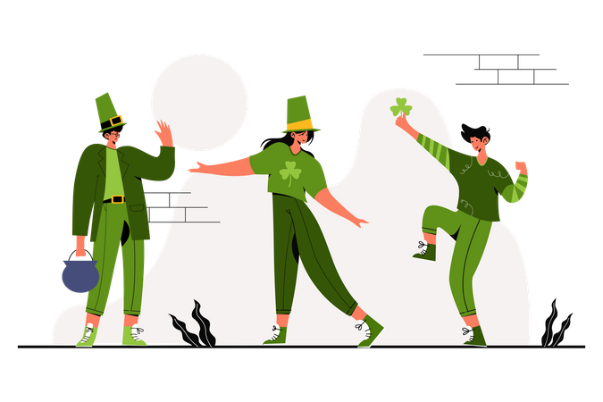Dancing on St. Patrick's Day Illustration