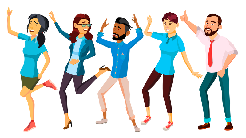 Dancing People Set Vector. Adult Persons In Action. Character Design Illustration