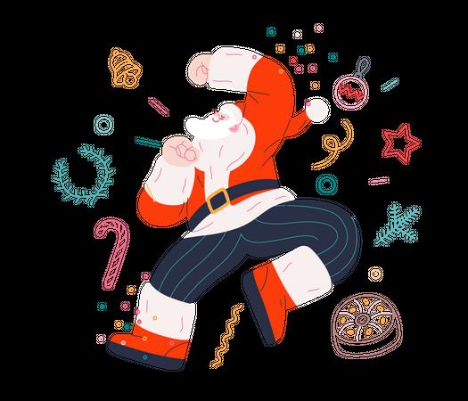 Dancing Santa Illustration