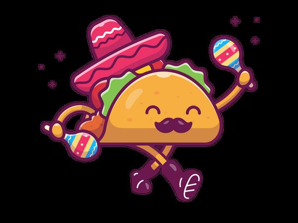 Dancing taco Illustration