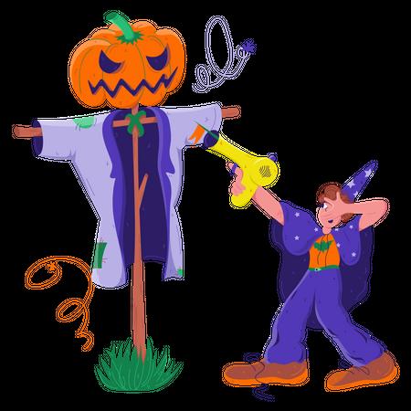 Dangerous Pumpkin Man Illustration