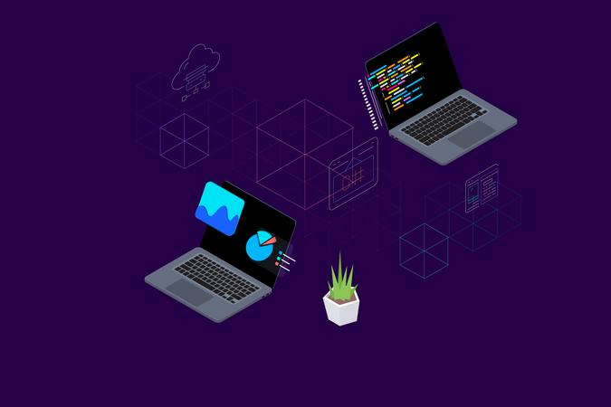 Data analysis and web development Illustration