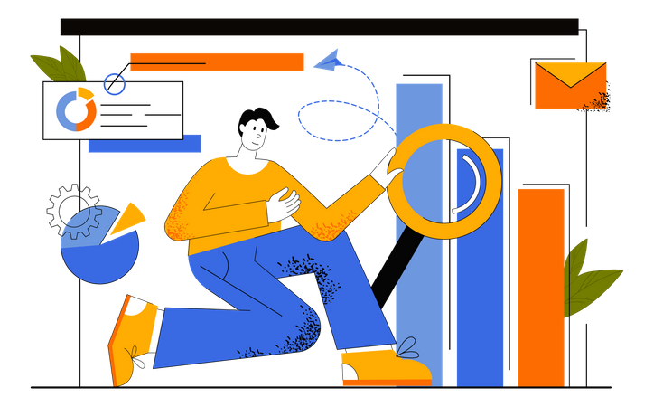 Data Analysis By Market Researcher Illustration