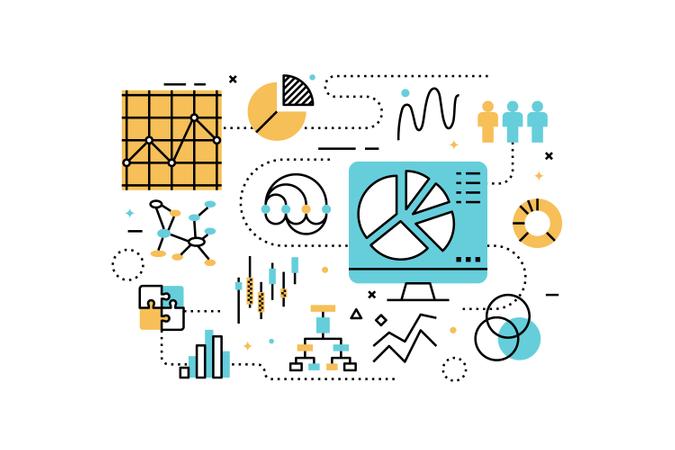 Data analysis line icons illustration Illustration