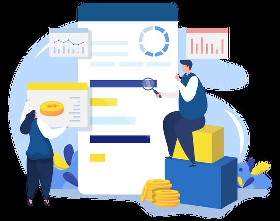 Data analysis team Illustration
