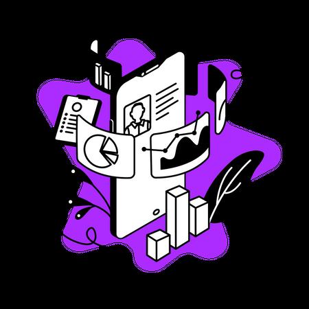Data analytics mobile app Illustration