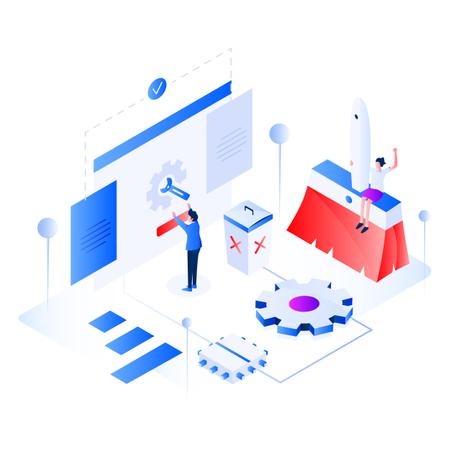 Data Cleansing Isometric Illustration