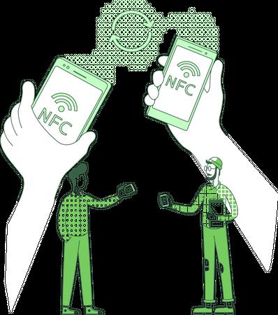 Data exchange using NFC technology Illustration