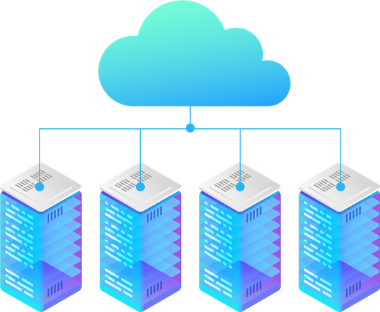 Data Hosting Servers connected to Cloud Illustration