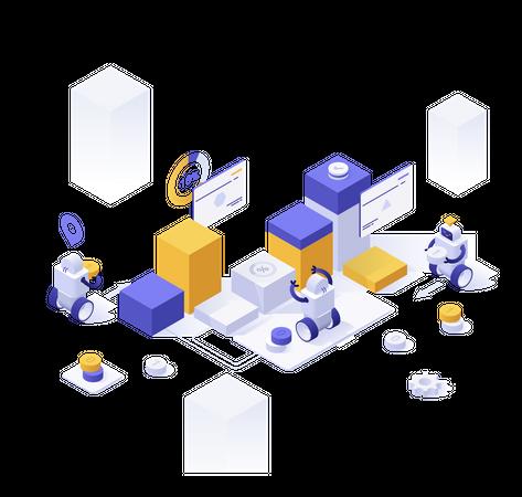 Data management automation Illustration