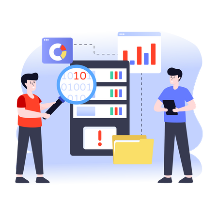 Data miners doing data research Illustration