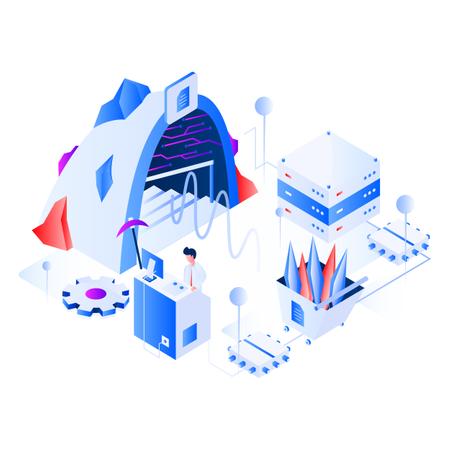 Data Mining Isometric Illustration