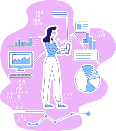 Data scientist analysis web data Illustration