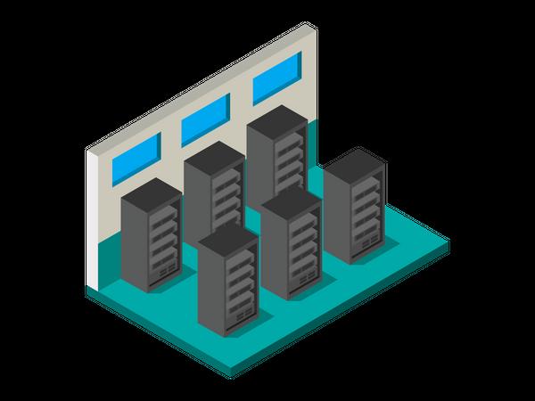 Data Server Room Illustration