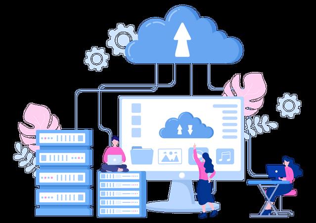 Data Uploading Storage Illustration