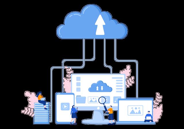 Data Uploading to Cloud Illustration