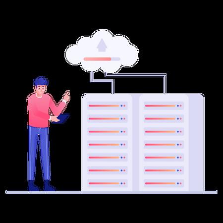 Database upload on cloud Illustration