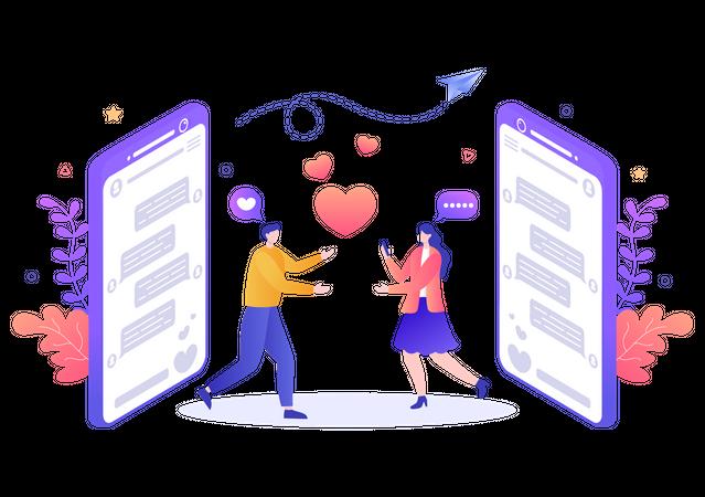 Dating application Illustration