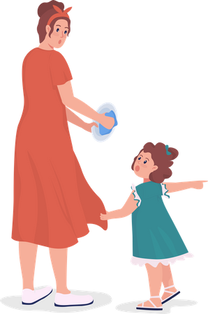 Daughter distracts mom for toy Illustration