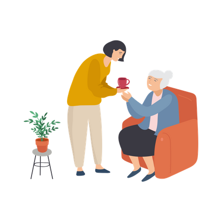 Daughter giving tea to her grandmother Illustration