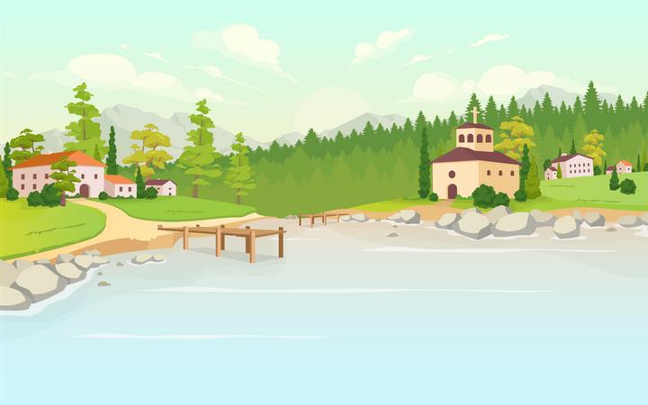 Daytime lake in village Illustration