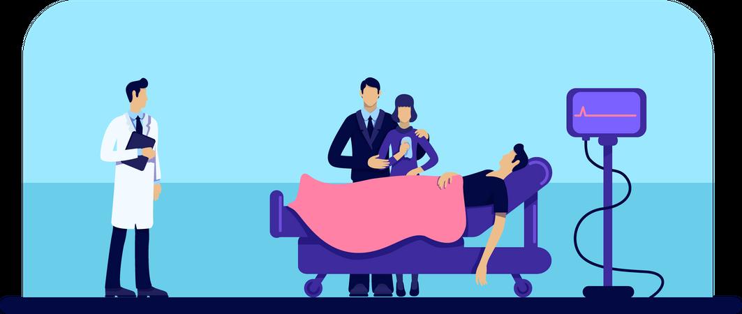 Dead man in hospital Illustration