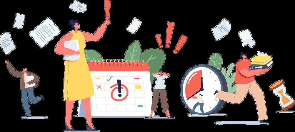 Deadline Approaching Workplace Illustration
