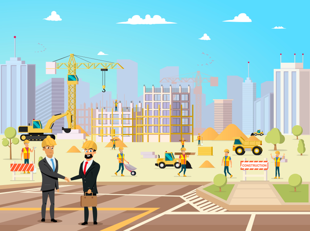 Deal Meeting of Partner and Contractor on Building Construction Illustration