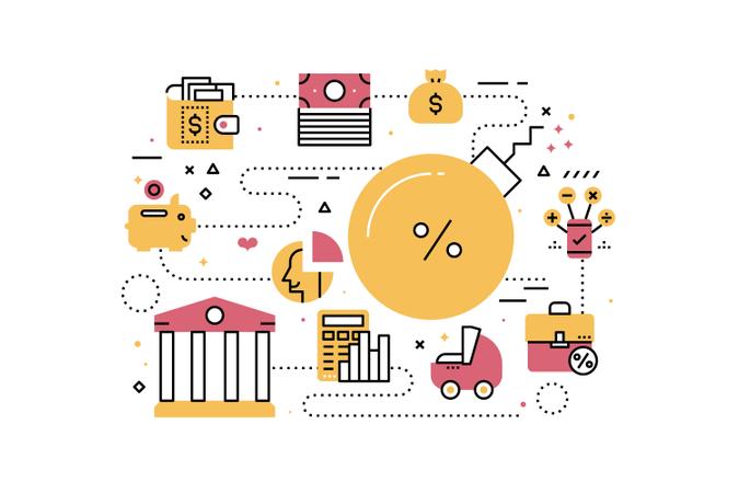 Debt, finance and banking line icons illustration Illustration