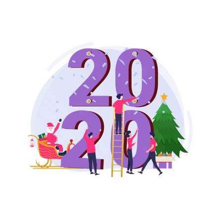 Decorate the 2020 number to celebrate Christmas and the new year 2020 Illustration