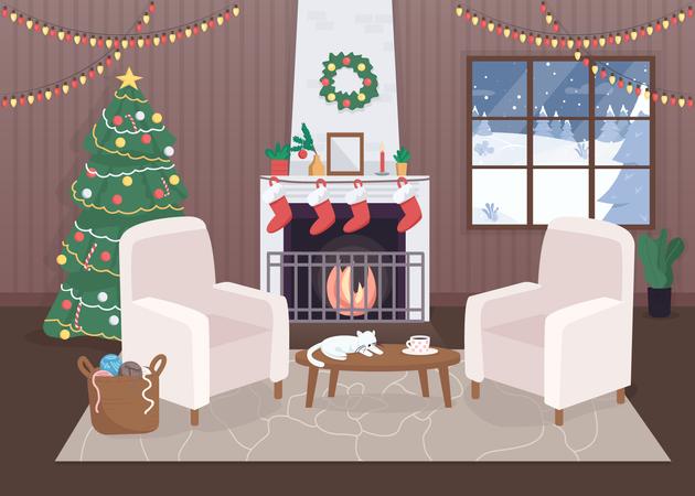 Decorated Christmas house Illustration