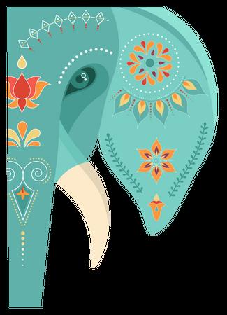 Decorated Indian elephant Illustration
