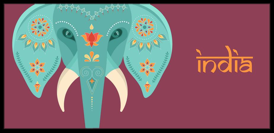 Decorated Indian elephant pattern Illustration