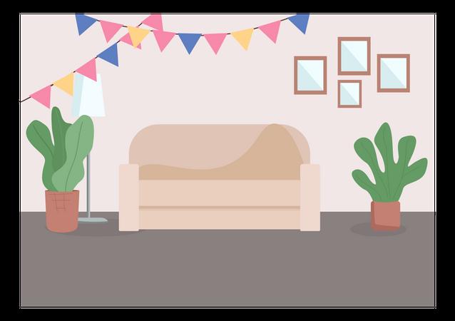 Decorated living room Illustration
