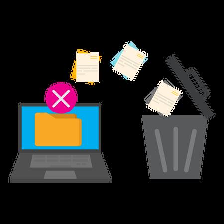 Delete folder from computer Illustration