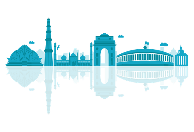 Delhi Skyline silhouette with reflections Illustration